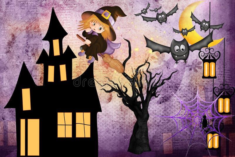 Halloween heureux - petite sorcière sur un manche à balai illustration de vecteur