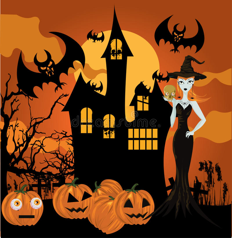 Halloween-Hexe stock abbildung