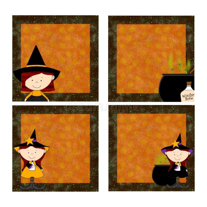 Halloween-Hexe-Blöcke 2 lizenzfreie abbildung