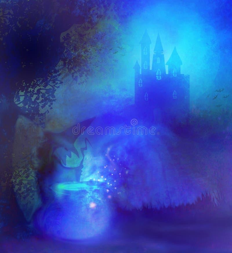 Halloween-Hexe, die Trank zubereitet lizenzfreie abbildung