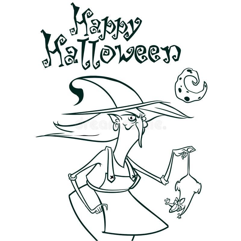 Halloween-Hexe im Hut, der eine Ratte in ihren Handentwürfen hält Vektorillustration des Hexenschattenbildes Bunte grafische Abbi lizenzfreie abbildung