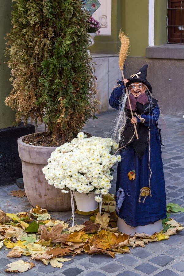 Halloween-Hexe-Marionette stockfotos