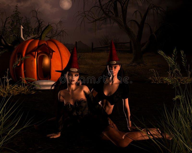 Halloween-Hexe-Szene stock abbildung