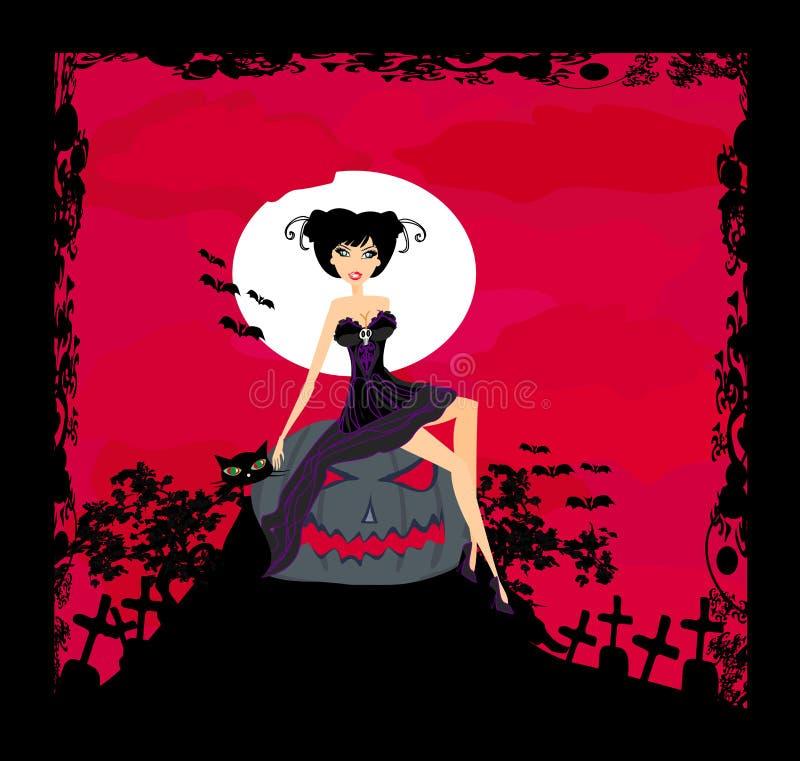 Halloween-Hexe und ihre Katze vektor abbildung