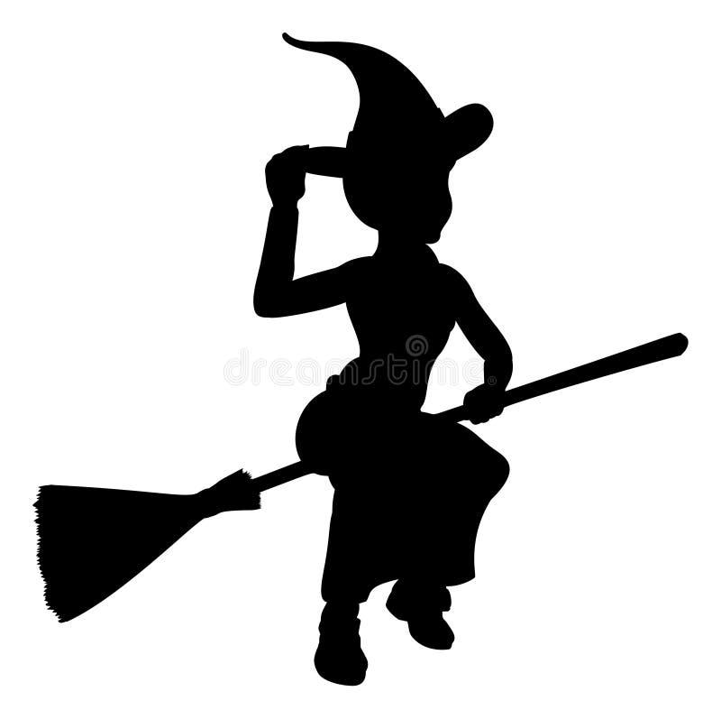 Halloween-Hexen-Fliegen auf Besenstiel-Schattenbild stock abbildung