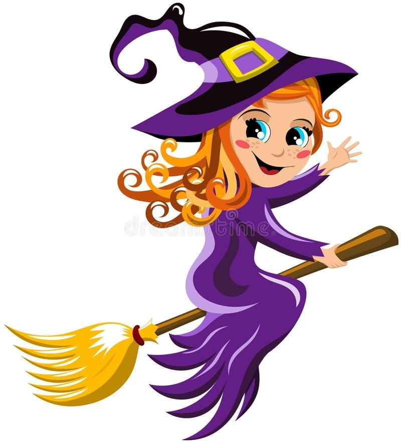 Halloween-Hexen-Fliegen-Besen-Kindergruß lizenzfreie abbildung