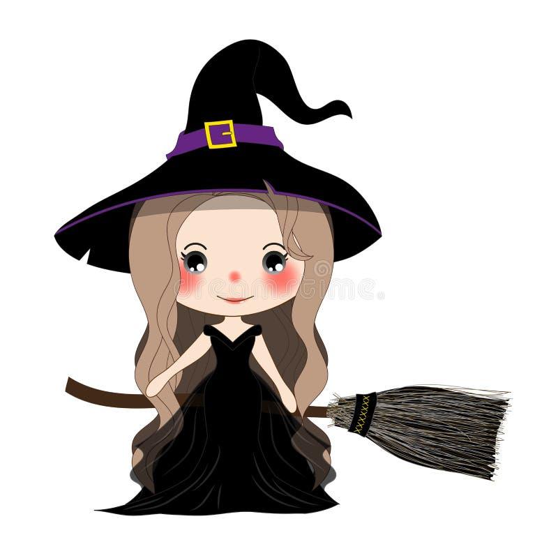 Halloween-Hexen-Fliegen mit Besen und Hut vektor abbildung
