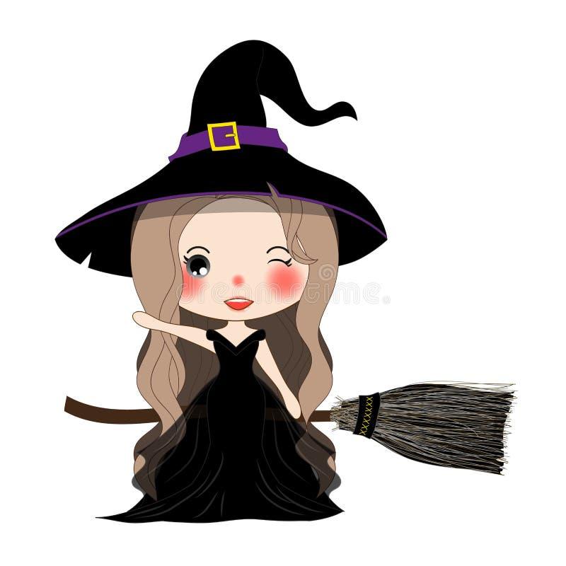 Halloween-Hexen-Fliegen mit Besen und Hut stock abbildung