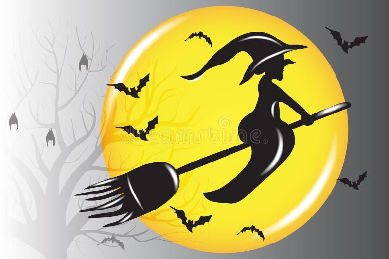 Halloween-Hexen-Fliegen-Schattenbild-Vektor stock abbildung