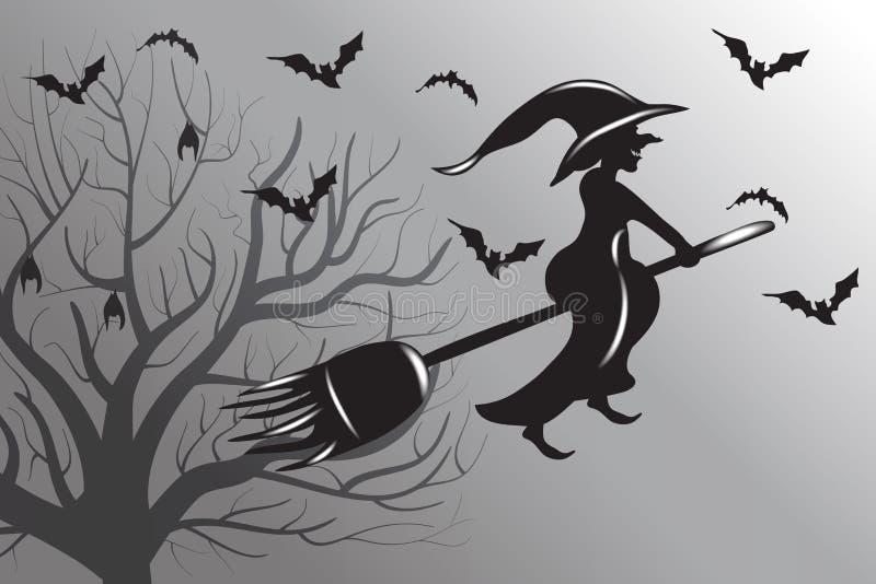 Halloween-Hexen-Fliegen-Schattenbild-Vektor vektor abbildung