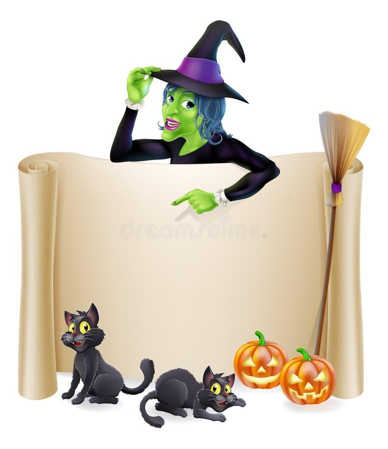 Halloween-Hexen-Rollen-Fahne lizenzfreie abbildung