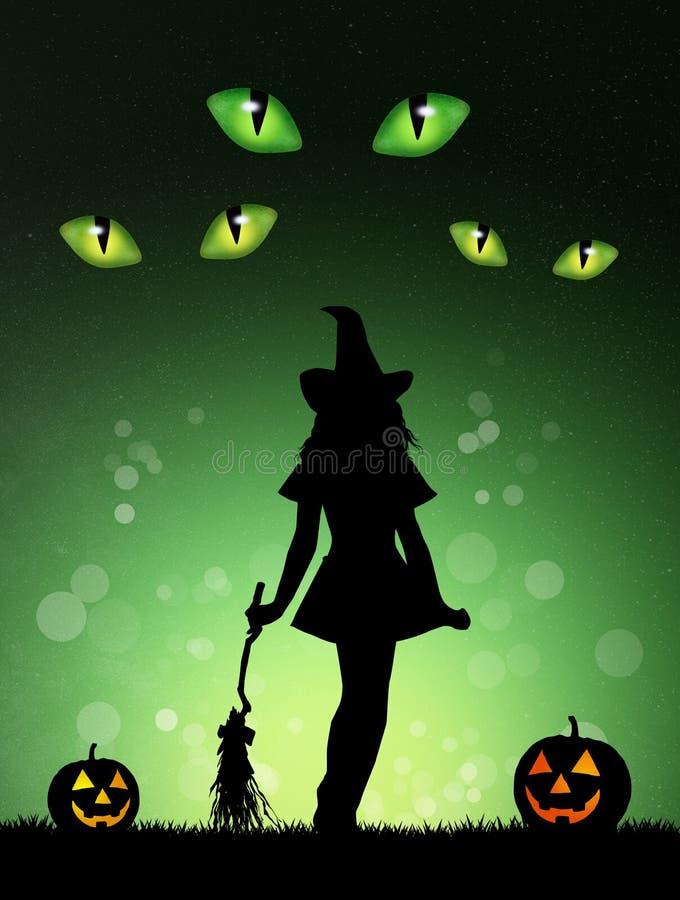 Halloween-Hexen-Schattenbild lizenzfreie abbildung