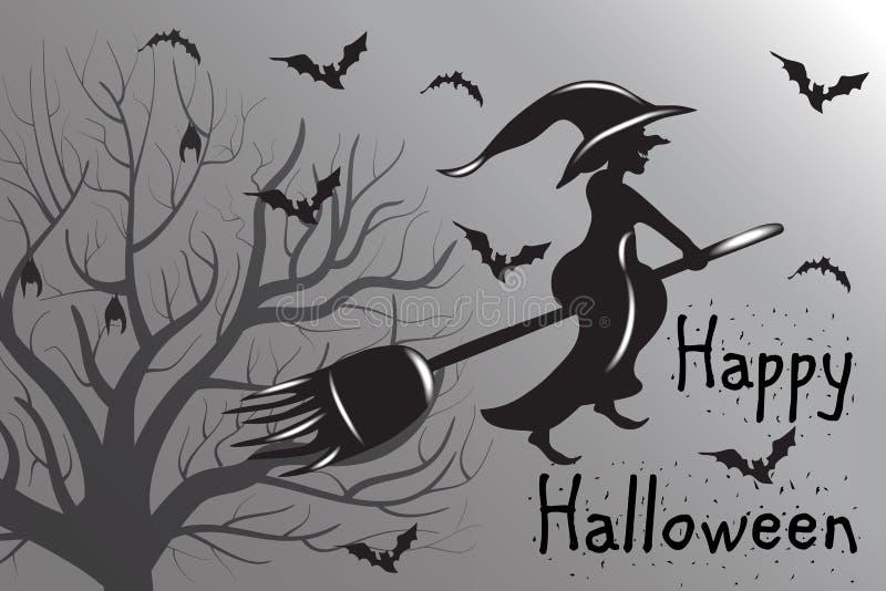Halloween-Hexen-Schattenbild-Vektor in der weißen und schwarzen Farbe vektor abbildung