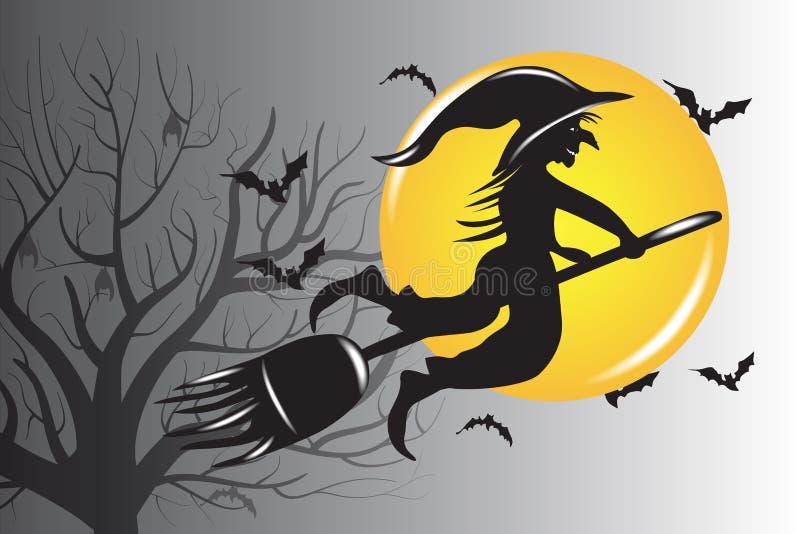 Halloween-Hexen-Schattenbild-Vektor-Entwurf lizenzfreie abbildung