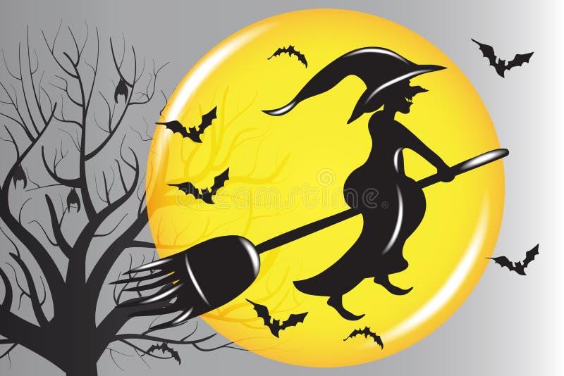 Halloween-Hexen-Schattenbildfliegen Vektor stock abbildung