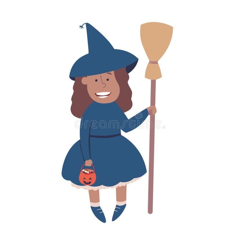 Halloween-Hexenkostüm, netter Vektor lizenzfreie abbildung