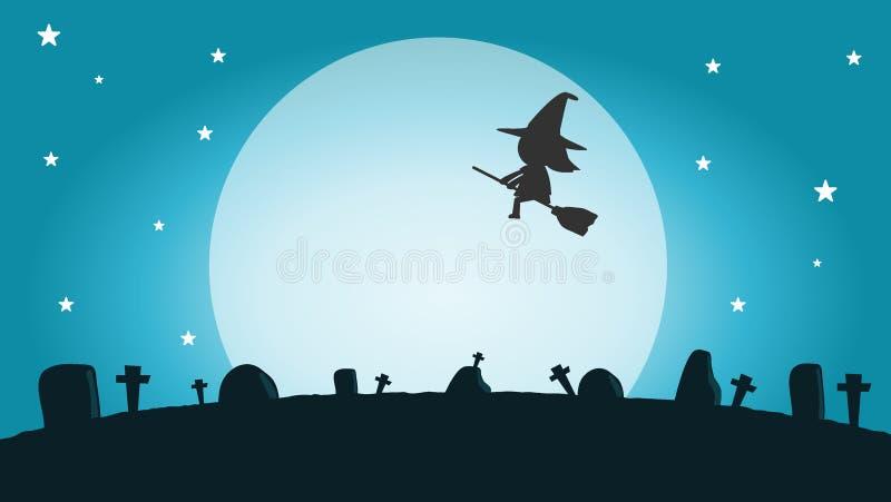 Halloween-Hexenschattenbild auf dem Mond, Vektorillustration von Halloween-Hexe glückliches Halloween vektor abbildung