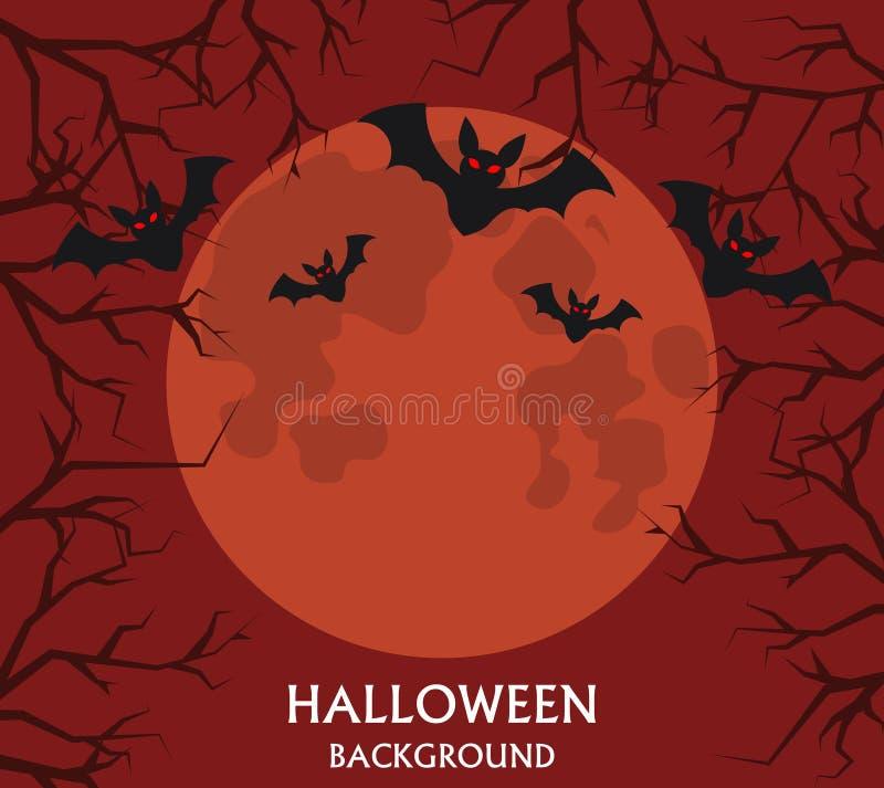 Halloween-Hintergrund, fliegende Schläger, roter Vollmond stock abbildung