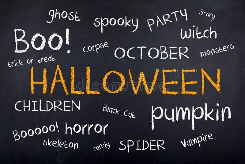 Halloween-Hintergrund-Konzept-Wort-Wolke lizenzfreie abbildung