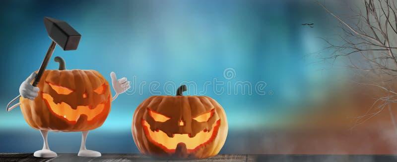 Halloween-Hintergrund lustig und schlechtes getötet mit dem Hammer schlechter Absichten Halloween-Kürbis 3d-illustration lizenzfreie abbildung