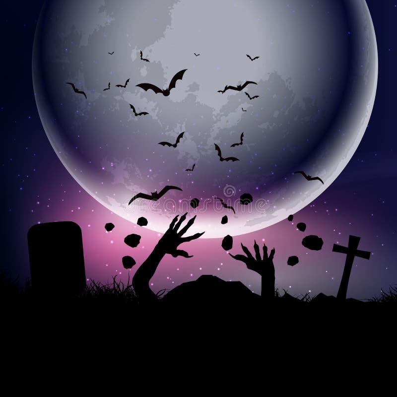 Halloween-Hintergrund mit den Zombiehänden gegen mondbeschienen Himmel 0209 stock abbildung
