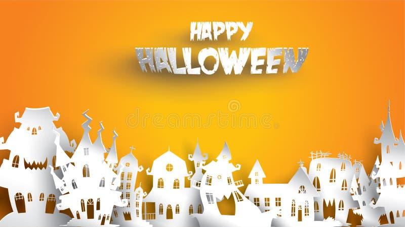 Halloween-Hintergrund mit der Geisterhauspapierkunst, die Art schnitzt Fahne, Plakat, Flieger oder Einladungsschablonenpartei Vek vektor abbildung
