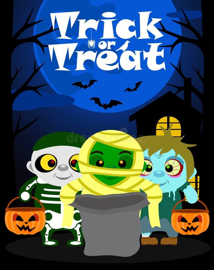 Halloween-Hintergrund mit der Kindertrick oder -behandlung stock abbildung