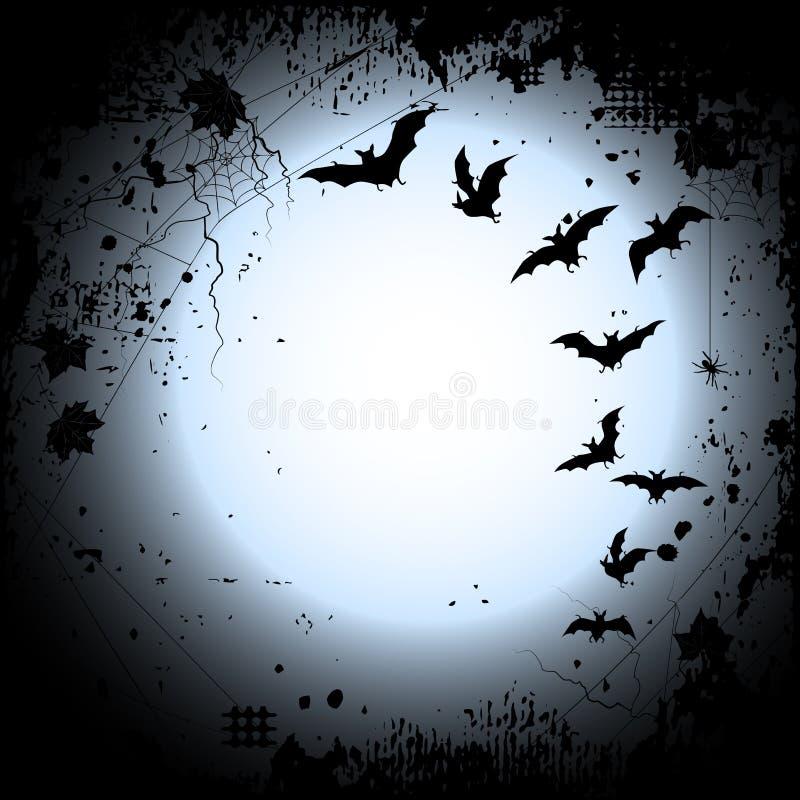 Halloween-Hintergrund mit einem Vollmond und Schlägern lizenzfreie abbildung