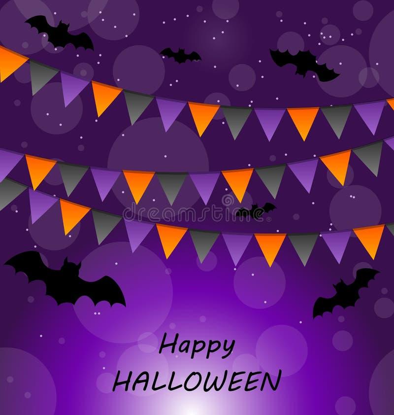 Halloween-Hintergrund mit Flaggen und Schlägern vektor abbildung
