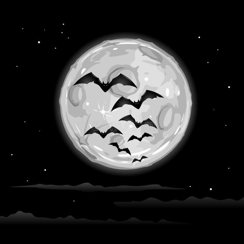 Halloween-Hintergrund mit Fliegen-Schlägern auf Mond vektor abbildung