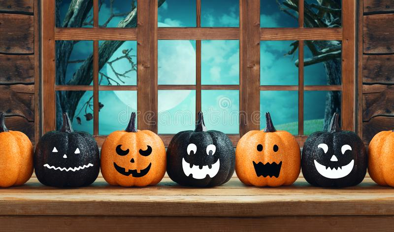 Halloween-Hintergrund mit Funkelnkürbis-Charakterdekor lizenzfreies stockbild