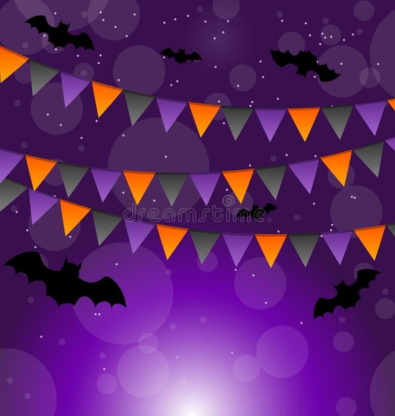 Halloween-Hintergrund mit hängenden Flaggen lizenzfreie abbildung