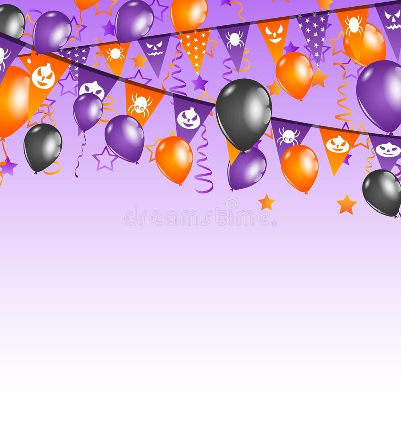 Halloween-Hintergrund mit hängenden Flaggen und Ballonen stock abbildung