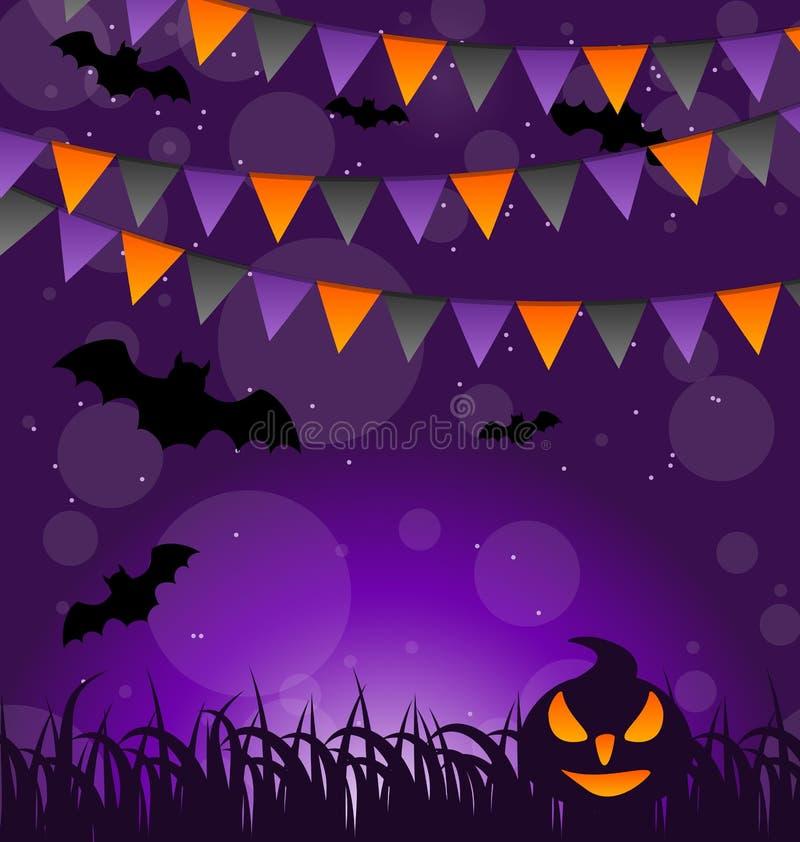Halloween-Hintergrund mit Kürbisen und hängenden Flaggen lizenzfreie abbildung