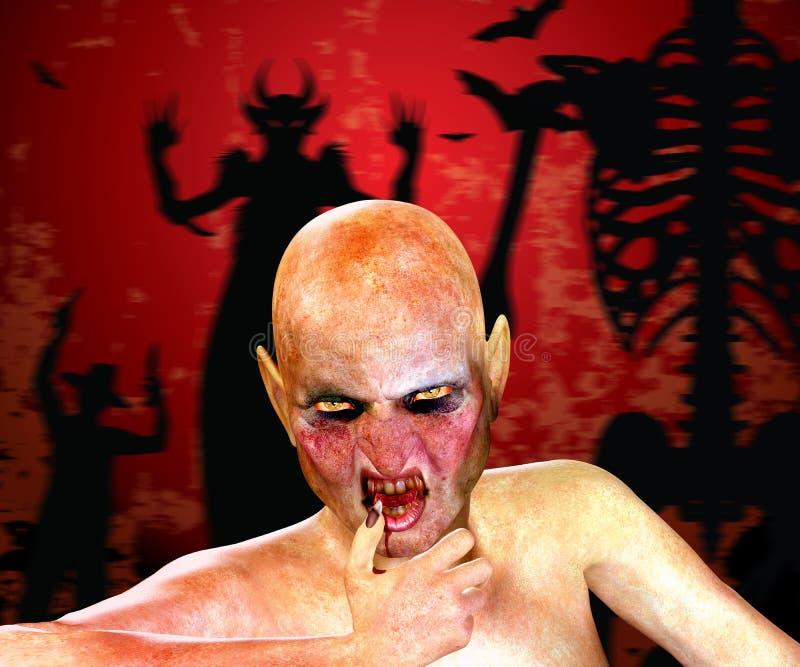 Halloween-Hintergrund mit Monster 3d lizenzfreie abbildung