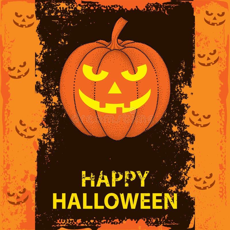 Halloween-Hintergrund mit punktiertem Kürbis vektor abbildung