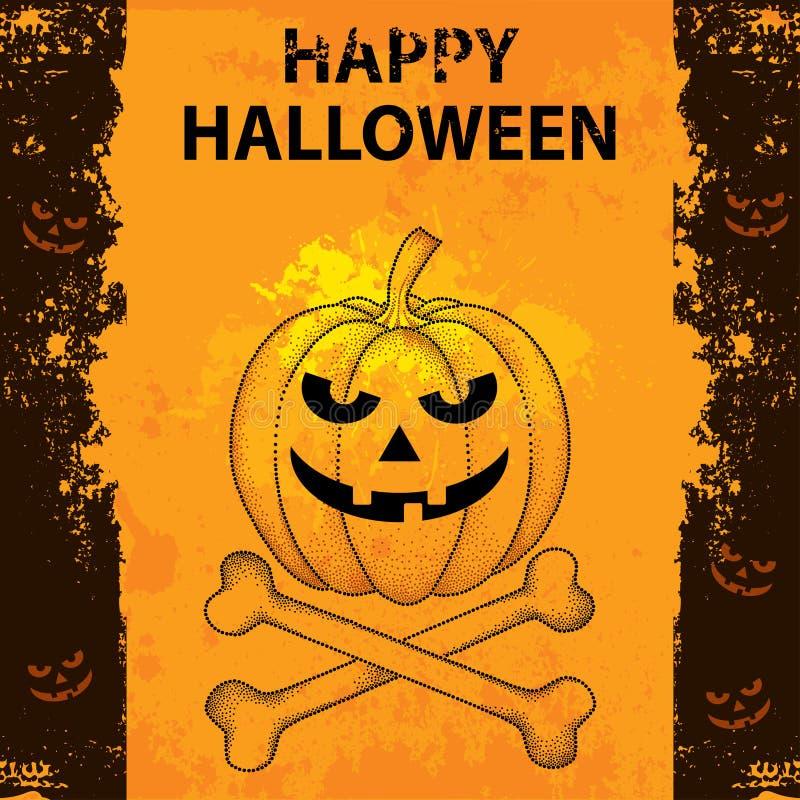 Halloween-Hintergrund mit punktiertem Kürbis und gekreuzten Knochen stock abbildung