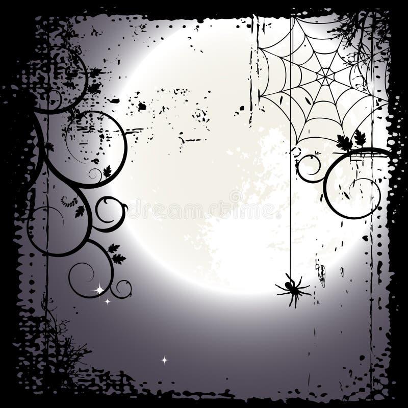 Halloween-Hintergrund. Vollmond und ein Spinnennetz lizenzfreie abbildung