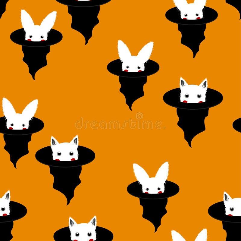 Halloween-Hintergrund - weißes Kaninchen und Katze im Hexen-Hut Auch im corel abgehobenen Betrag lizenzfreie abbildung