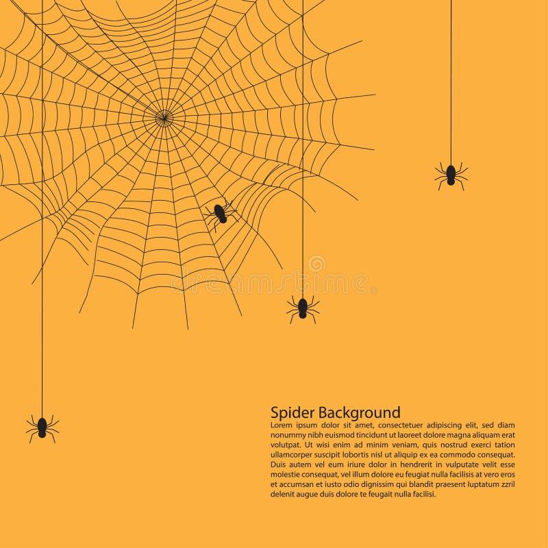 Halloween-Hintergrundkonzept: Spinnen, die am Spinnennetz gegen hängen stock abbildung