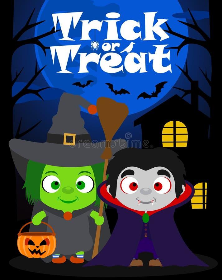 Halloween-Hintergrundtrick oder Behandlung mit Kindern, Vektor lizenzfreie abbildung