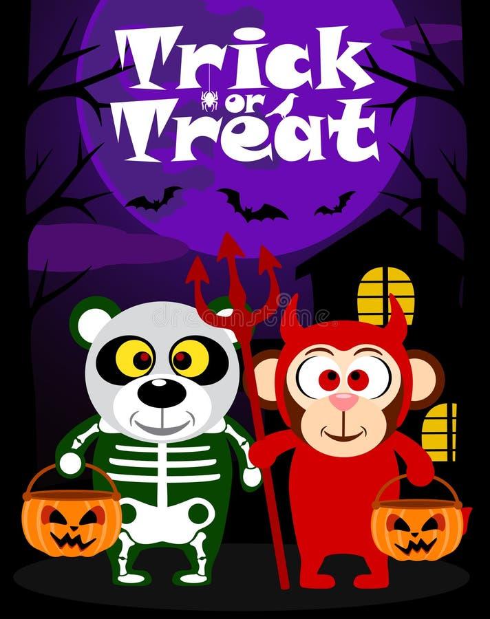 Halloween-Hintergrundtrick oder Behandlung mit Tier stock abbildung