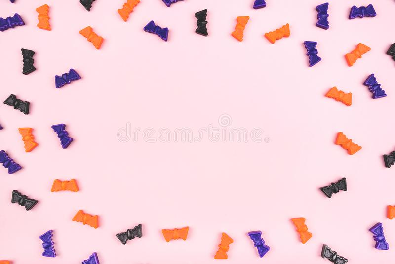 Halloween holiday background with bats. Flat lay, top view stock photos