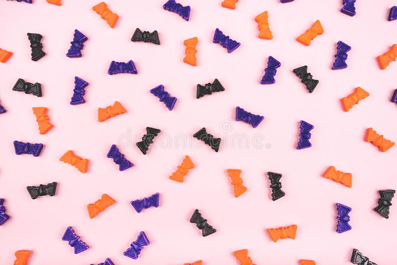 Halloween holiday background with bats. Flat lay, top view stock images