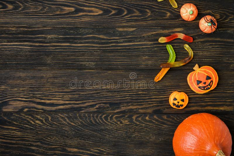 Halloween holiday background with pumpkins stock photography