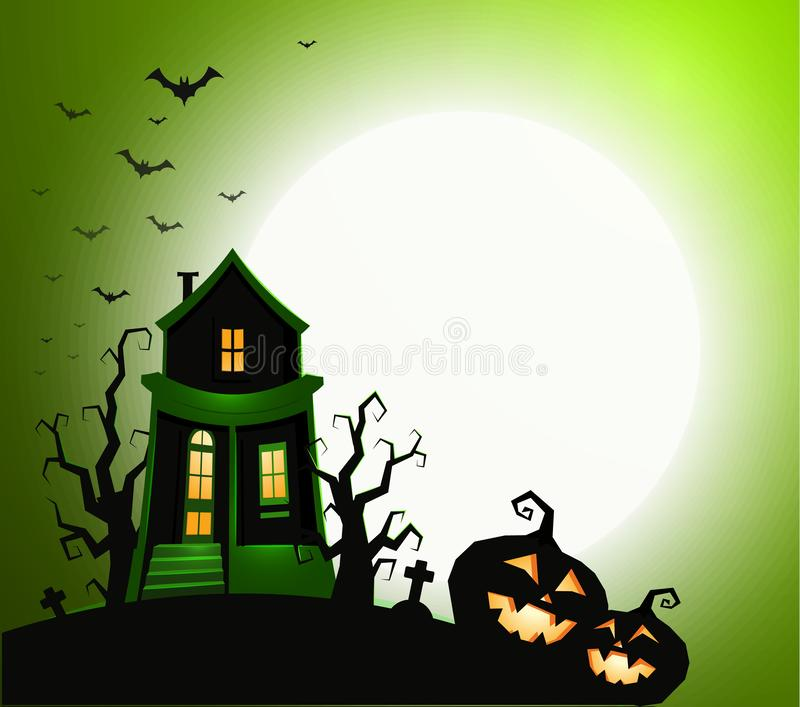 Halloween holiday banner, night party invitation, vector illustration. House with ghost, scary pumpkin silhouette, black vector illustration