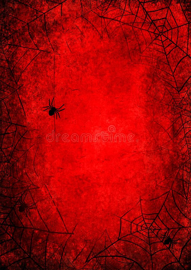 Halloween holiday bloody red grunge background with silhouettes of spider and webs. On dark spooky night sky. Halloween, horror concept. Space for text vector illustration