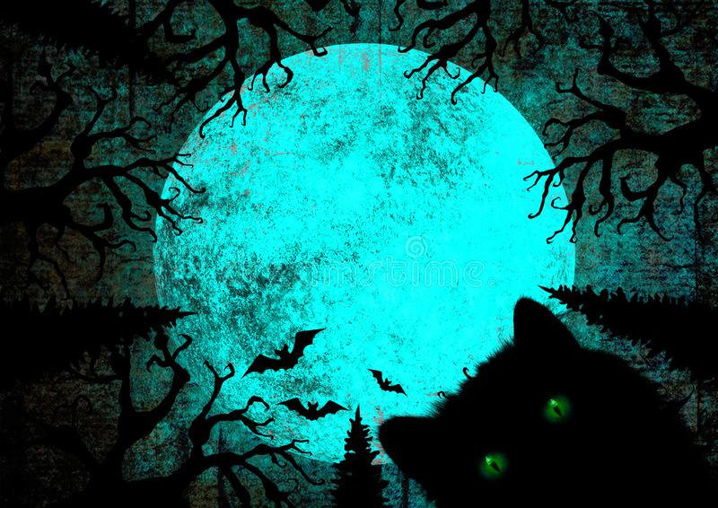 Halloween holiday blue teal black grunge background with black cat with green eyes, full moon, silhouettes of bats stock illustration