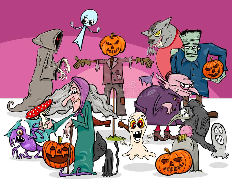 Halloween holiday cartoon scary characters group stock illustration
