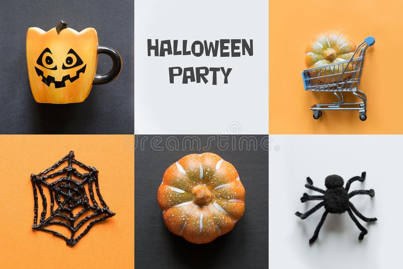 Halloween holiday collage of pumpkin, web, spider, cup, decorations. View from above. Flat lay stock photo